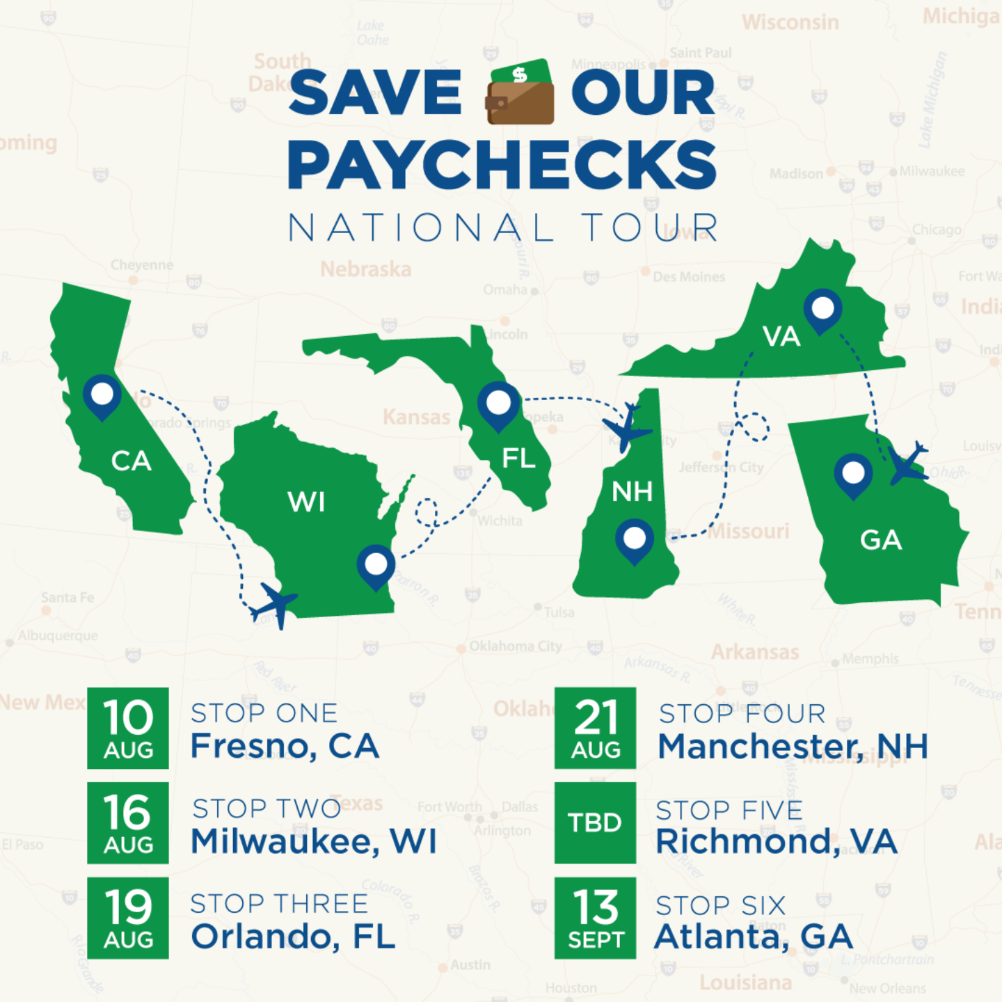 Save Our Paychecks National Tour Promotional Graphic FB